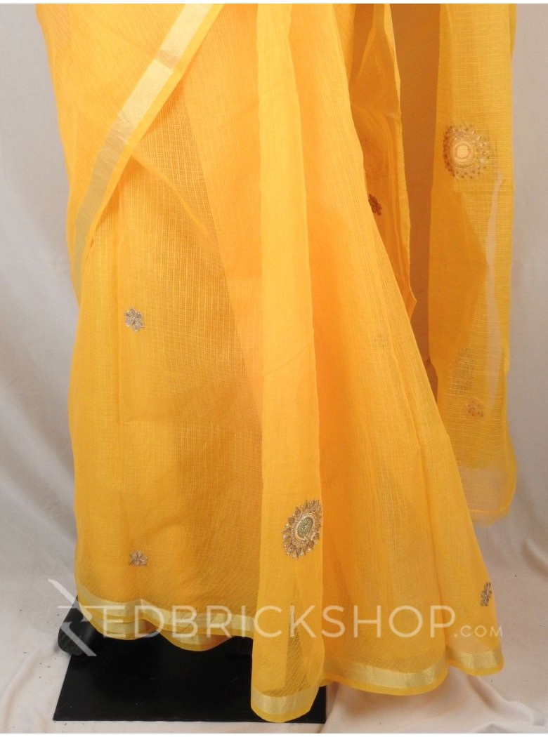 GOTA PATTI FLORAL PEARL YELLOW COTTON KOTA SAREE