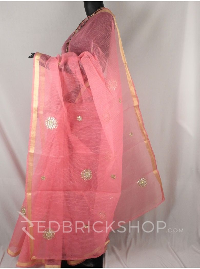GOTA PATTI FLORAL PEARL PINK COTTON KOTA SAREE