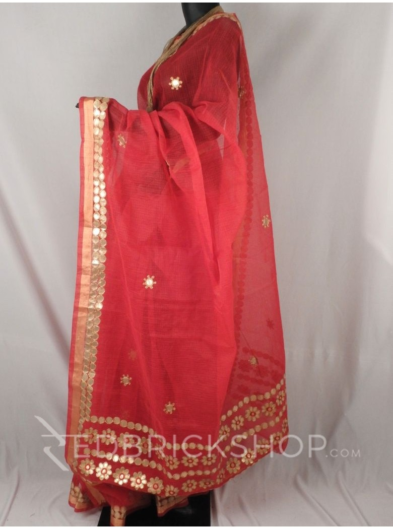 GOTA PATTI FLOWER CIRCLE RED COTTON KOTA SAREE
