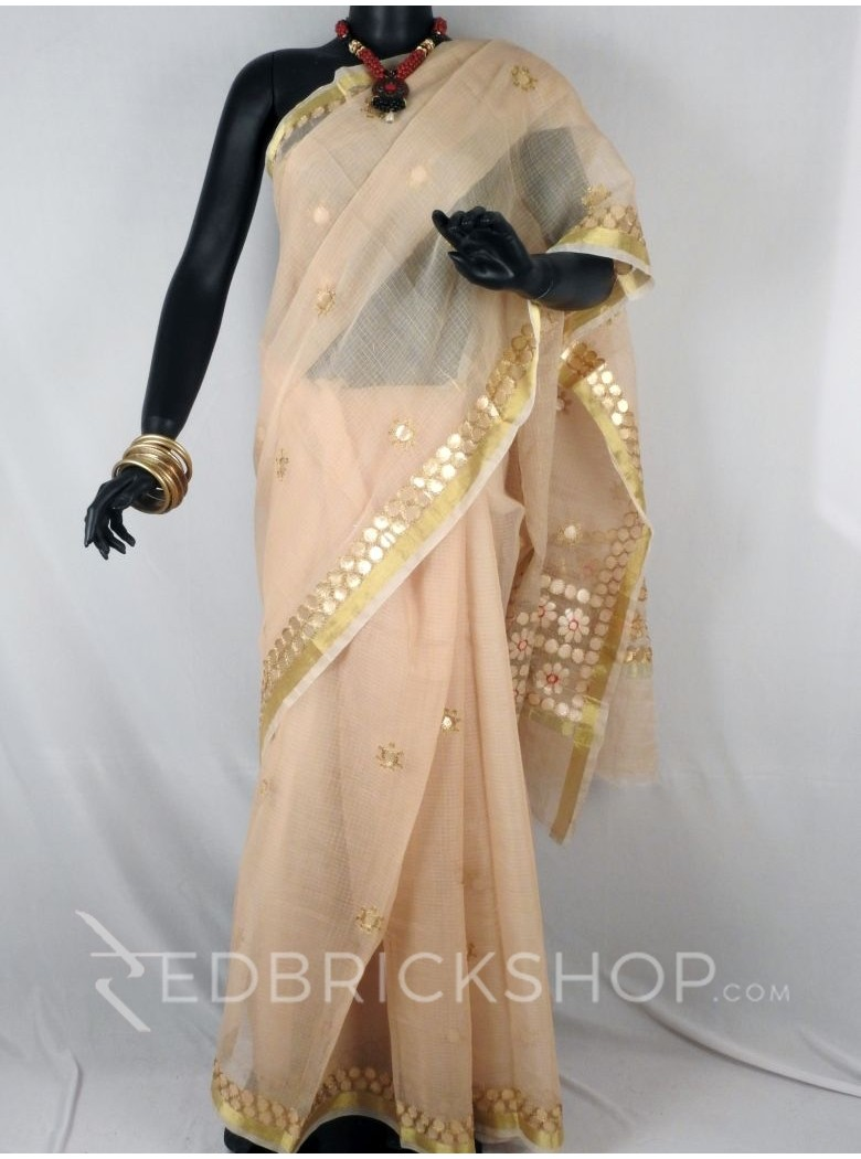 GOTA PATTI FLOWER CIRCLE BEIGE COTTON KOTA SAREE