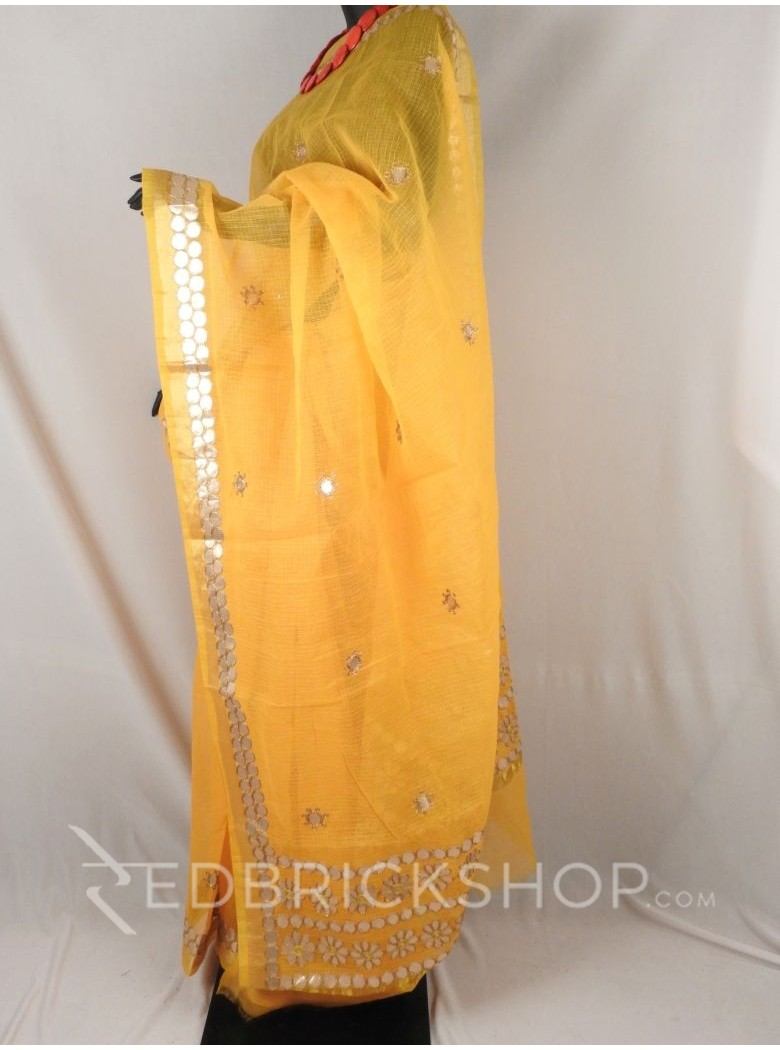 GOTA PATTI FLOWER CIRCLE YELLOW COTTON KOTA SAREE