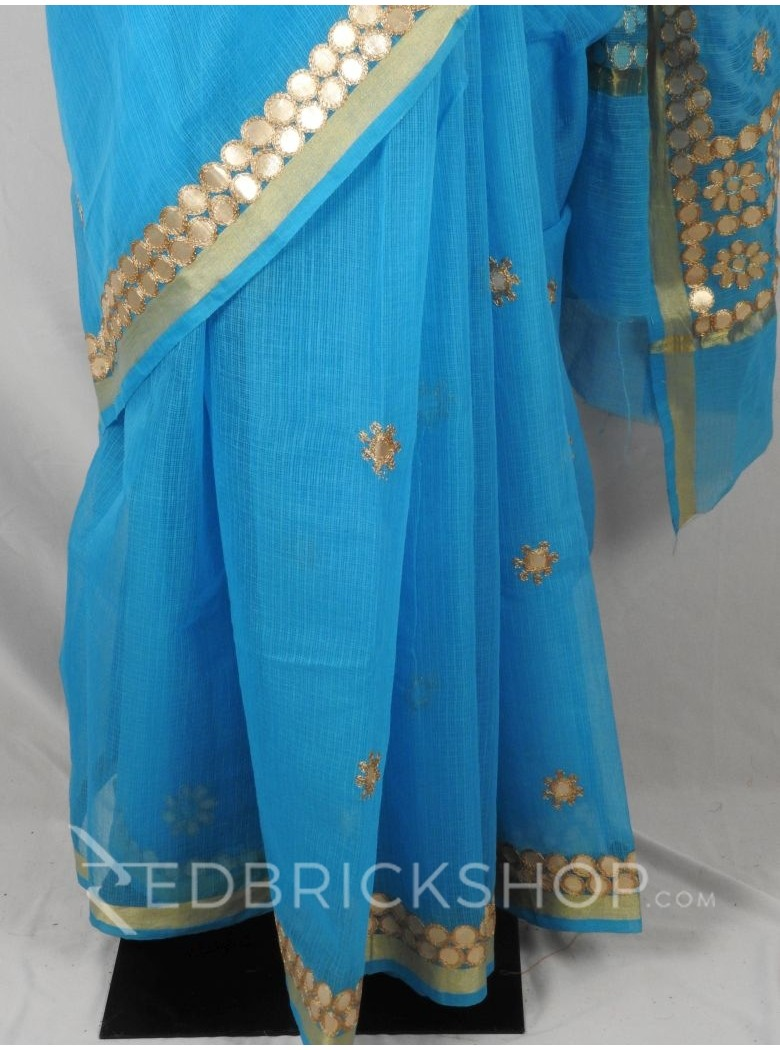 GOTA PATTI FLOWER CIRCLE TURQUOISE COTTON KOTA SAREE