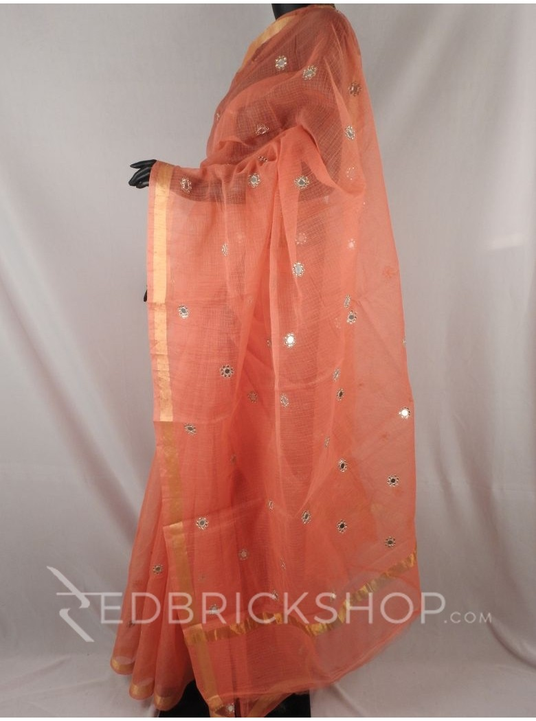 MIRROR WORK STONE PEACH COTTON KOTA SAREE