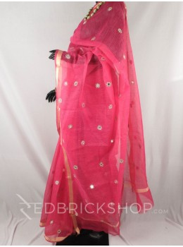 MIRROR WORK STONE FUCHSIA COTTON KOTA SAREE