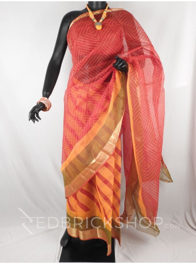 BANDHEJ - LEHERIYA DIAGONAL RED, YELLOW, GREEN COTTON KOTA SAREE