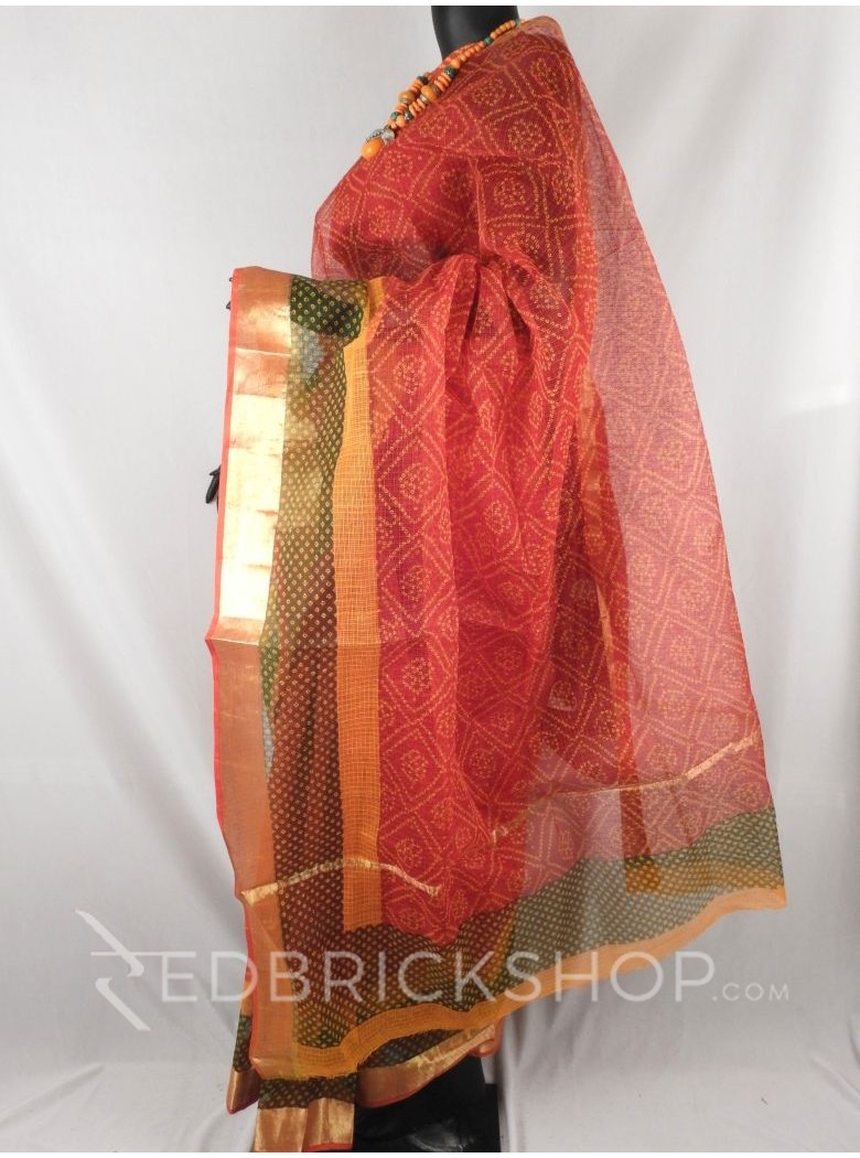 BANDHEJ DIAMOND RED, YELLOW, GREEN COTTON KOTA SAREE