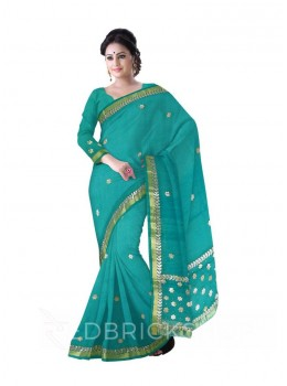 GOTA PATTI SMALL FLOWER AQUAMARINE, GREEN COTTON KOTA SAREE