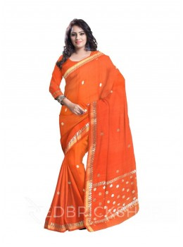 GOTA PATTI SMALL FLOWER ORANGE COTTON KOTA SAREE