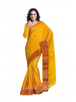 GOTA PATTI SINGLE FLOWER STRIPE BORDER YELLOW COTTON KOTA SAREE