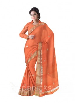 GOTA PATTI SINGLE FLOWER STRIPE BORDER PEACH COTTON KOTA SAREE