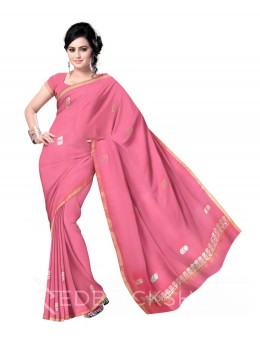 GOTA PATTI BIG FLOWER PINK COTTON KOTA SAREE