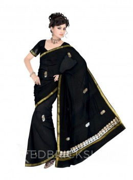 GOTA PATTI BIG FLOWER BLACK COTTON KOTA SAREE