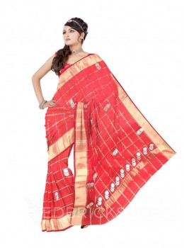 GOTA PATTI BIG FLOWER CHECKS RED COTTON KOTA SAREE