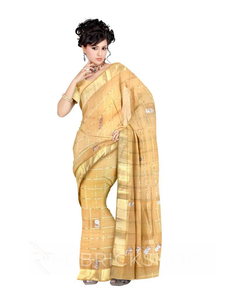 GOTA PATTI BIG FLOWER CHECKS BEIGE COTTON KOTA SAREE