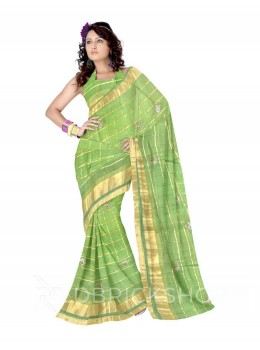 PITTAN FAN CHECKS LIGHT GREEN COTTON KOTA SAREE
