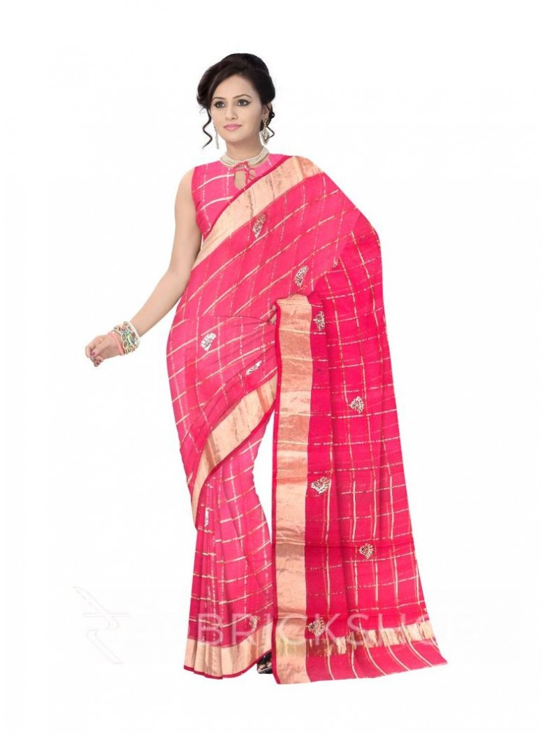 PITTAN FAN CHECKS LIGHT MAGENTA, PINK COTTON KOTA SAREE