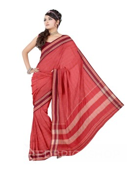 ADIVASI KUNBI SMALL CHECKS RED, MAROON COTTON SAREE