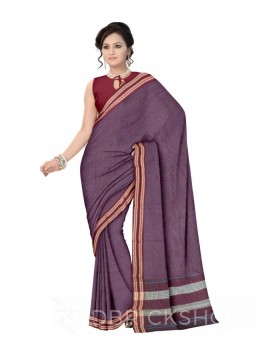 ADIVASI KUNBI MEDIUM CHECKS PURPLE, MAROON COTTON SAREE