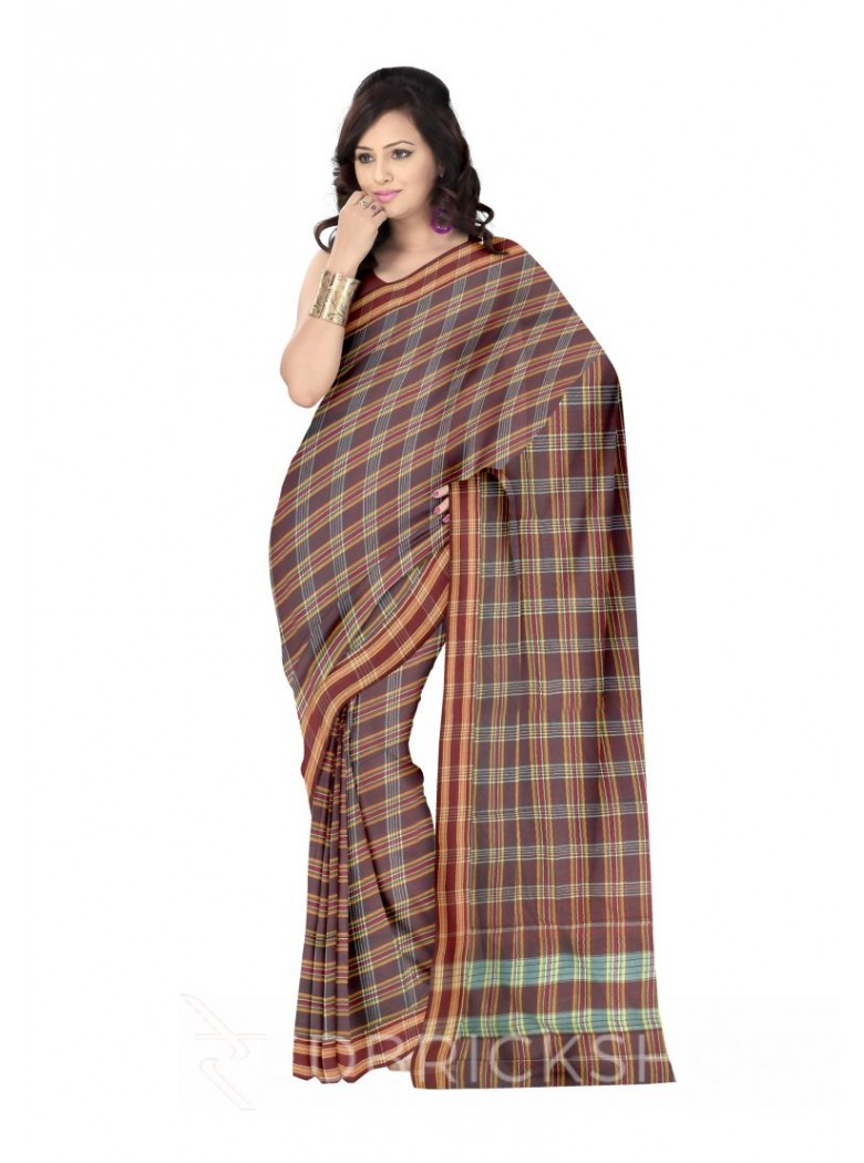 ADIVASI KUNBI LARGE CHECKS MAROON, YELLOW COTTON SAREE