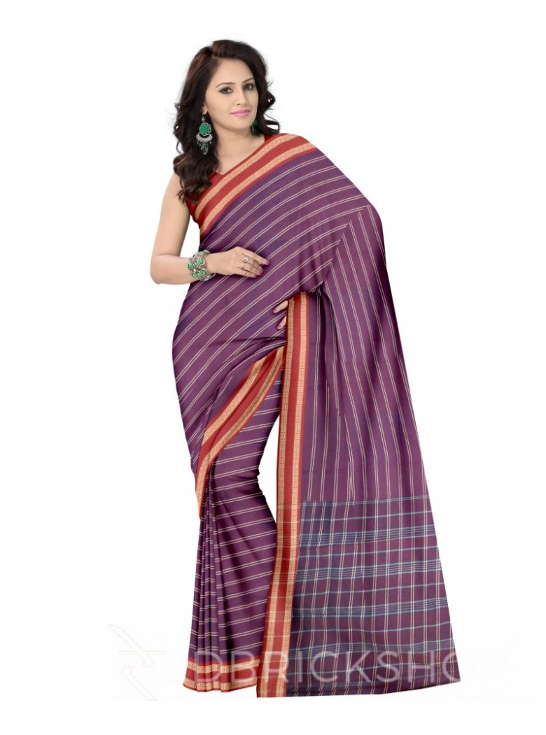 ADIVASI KUNBI DOUBLE STRIPE PURPLE, RED COTTON SAREE