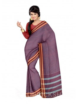 ADIVASI KUNBI MEDIUM CHECKS PURPLE, RED COTTON SAREE