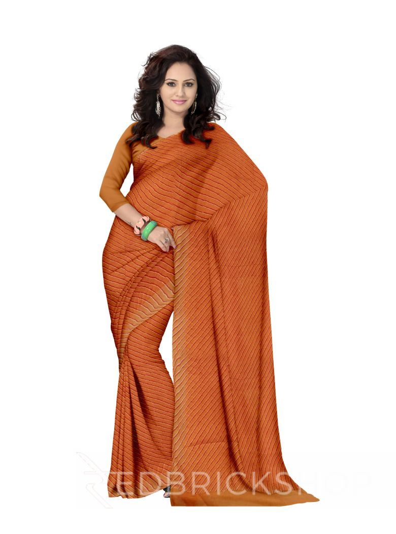 SINGLE LEHERIYA MUSTARD COTTON SAREE