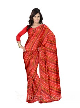DOUBLE LEHERIYA RED COTTON SAREE