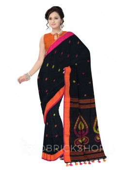 JAMDANI POLKA POMPOM BLACK, ORANGE, YELLOW, PINK LINEN SAREE