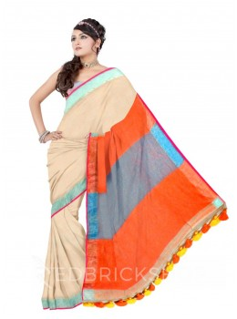 COLOUR BLOCK POMPOM DHOOP CHHAON ORANGE, BLUE ZARI LINEN SAREE