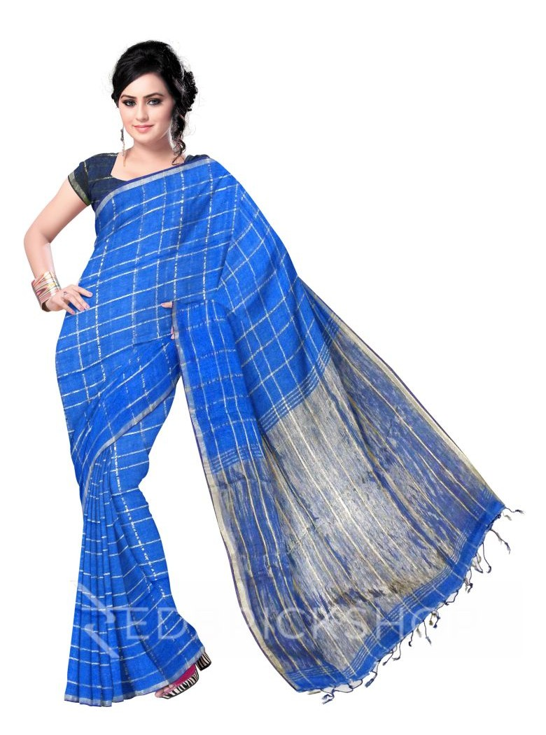 CHECKS TASSEL BLUE ZARI LINEN SAREE
