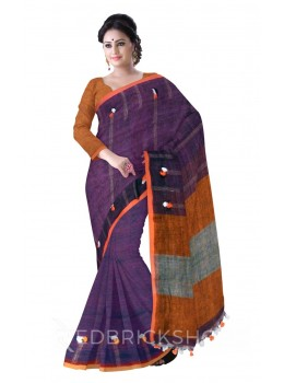 COLOUR BLOCK MULTI POMPOM PURPLE, ORANGE, GREY LINEN SAREE