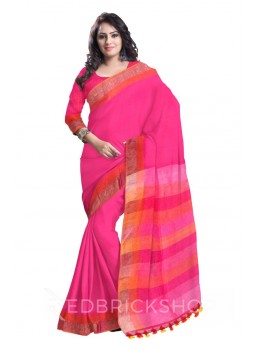 BROAD STRIPES POMPOM MAGENTA, PINK, ORANGE ZARI LINEN SAREE