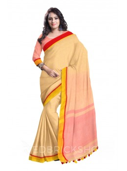 PLAIN POMPOM BEIGE, RED, YELLOW LINEN SAREE