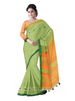PLAIN STRIPES MULTI POMPOM GREEN, ORANGE LINEN SAREE