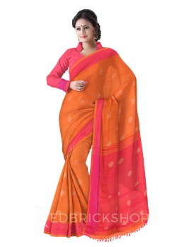 POLKA STRIPES POMPOM ORANGE, PINK LINEN SAREE