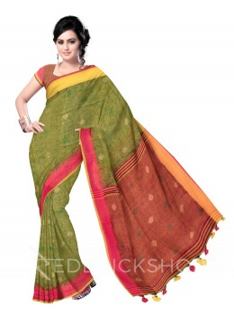 POLKA STRIPES POMPOM GREEN, PINK, YELLOW LINEN SAREE