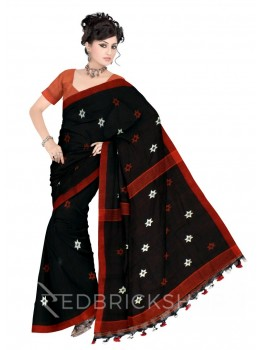 STAR POMPOM BLACK, ORANGE LINEN SAREE