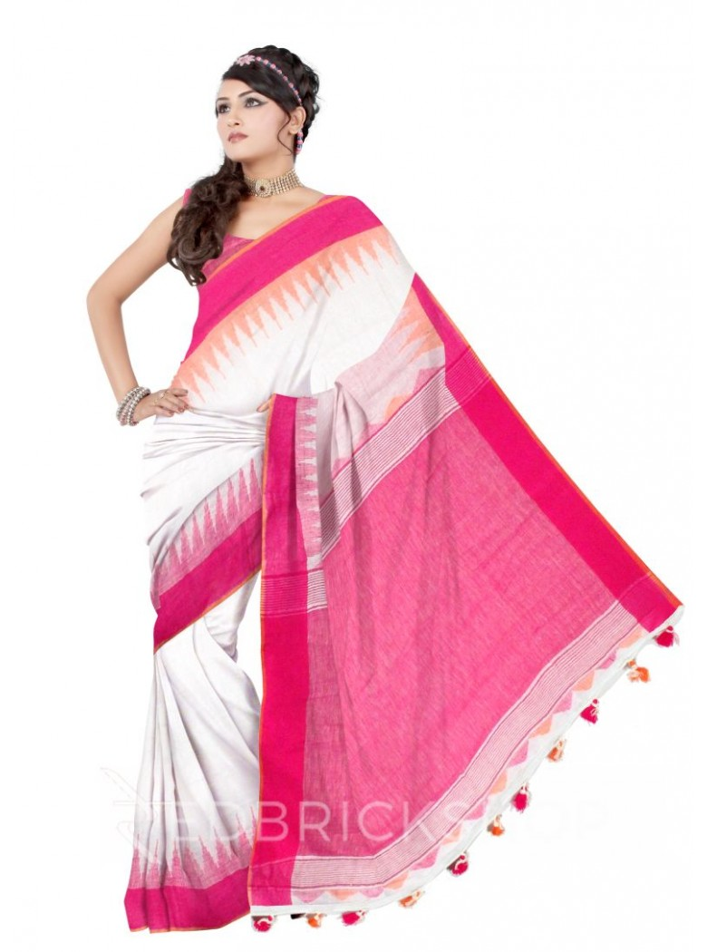 TEMPLE STRIPES POMPOM OFF WHITE, PINK LINEN SAREE