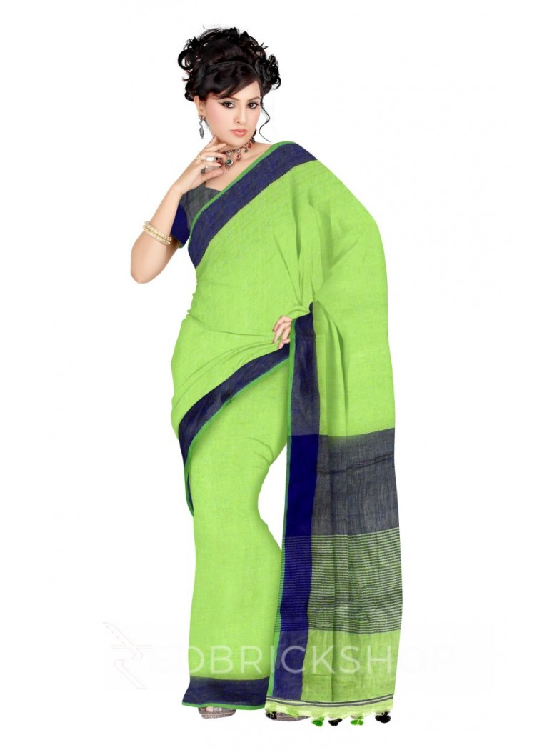 PLAIN STRIPES POMPOM GREEN, BLUE LINEN SAREE