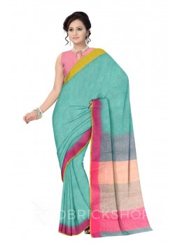 PLAIN STRIPES POMPOM GREEN, PINK, YELLOW LINEN SAREE