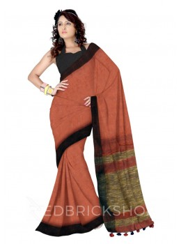 PLAIN BROAD STRIPES POMPOM GHICHA MAROON, BROWN LINEN SAREE