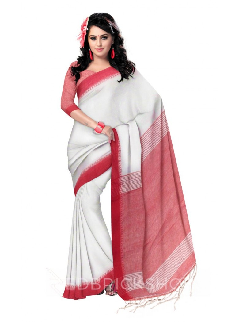 STRIPES TASSEL RED, WHITE LINEN SAREE