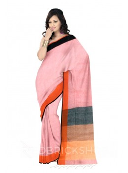 STRIPES TASSEL, ORANGE, BLACK, ROSE, PINK LINEN SAREE
