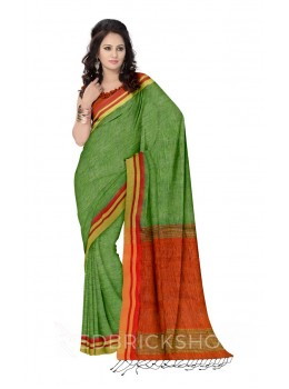 STRIPES TASSEL GREEN, ORANGE, CREAM, RED LINEN SAREE