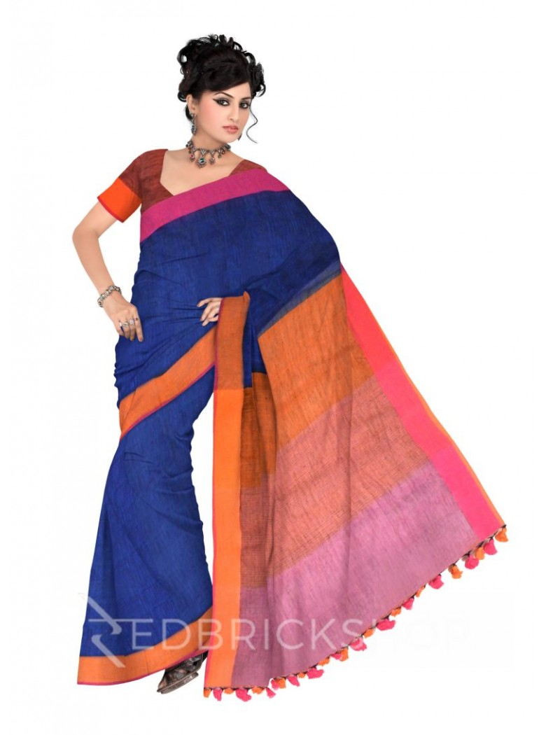 STRIPES POMPOM NAVY, BLUE, ORANGE, FUCHSIA PINK LINEN SAREE
