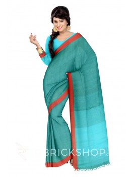 STRIPES TASSEL AQUAMARINE BLUE, RED LINEN SAREE