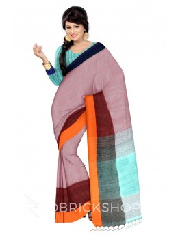 STRIPES TASSEL LIGHT BLUE, ORANGE, MAROON, PURPLE LINEN SAREE