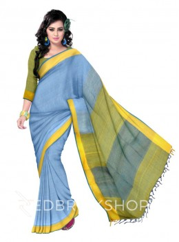 STRIPES TASSEL TURQUOISE BLUE, LIGHT BLUE, YELLOW LINEN SAREE
