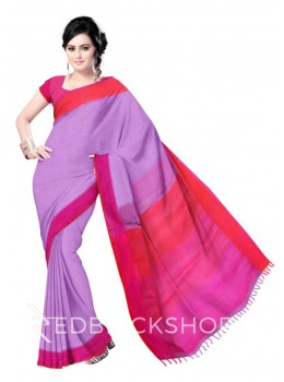 STRIPES TASSEL MAUVE PURPLE, RED LINEN SAREE