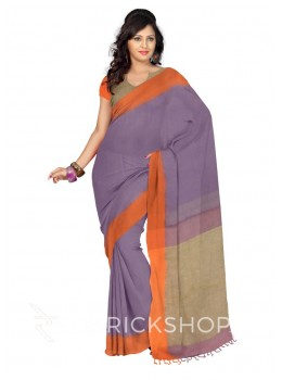 BLOCK TASSEL MAUVE PURPLE, SAFFRON ORANGE, BEIGE LINEN SAREE